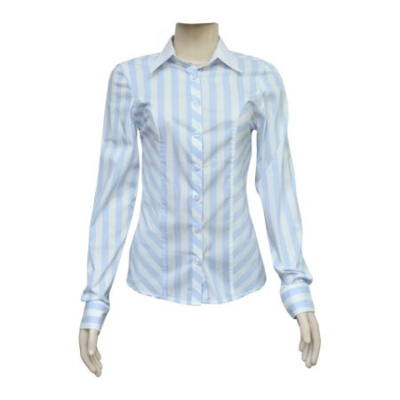 Camisa Social Feminina Azul Listrada