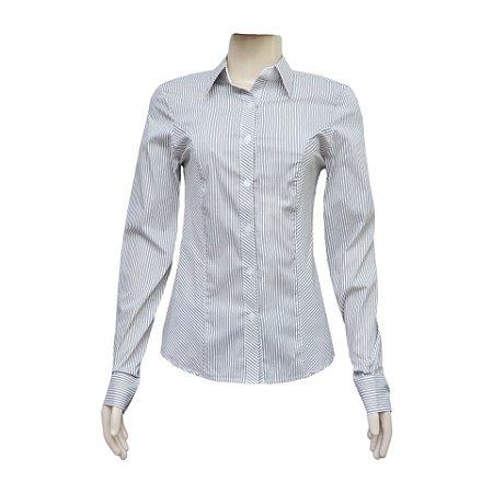 Camisa Social Feminina Marron Listrada