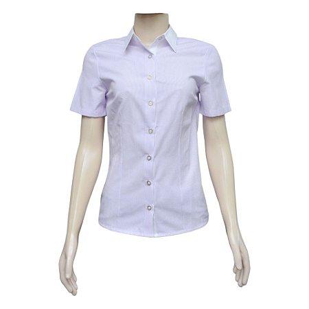 Camisa Social Feminina Lilás Listrada Com Detalhe