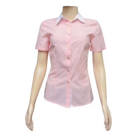 Camisa Social Feminina Rosa Listrada Com Detalhe