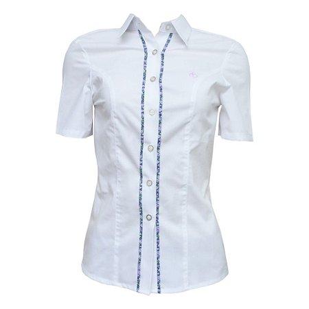 Camisa Social Feminina Branca Com Detalhe