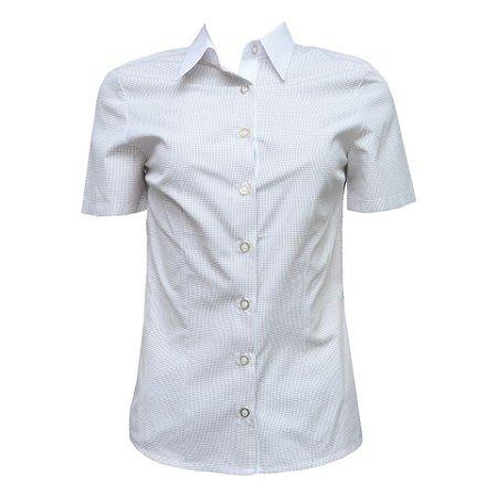 Camisa Social Feminina Marron Xadrez Com Detalhe