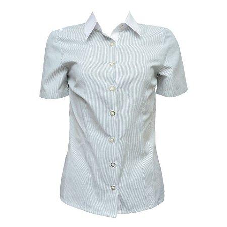Camisa Social Feminina Verde Listrada Com Detalhe