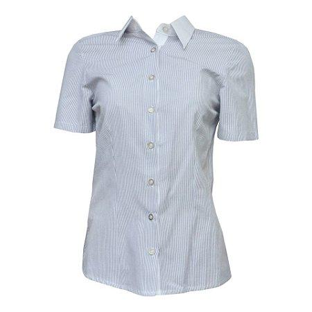 Camisa Social Feminina Azul Listrada Com Detalhe