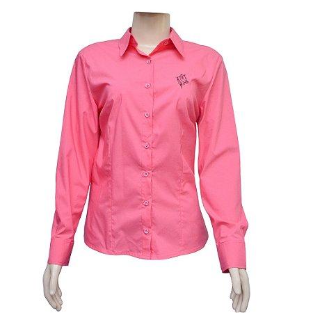 Camisa Social Feminina Rosa Com Bordado Cavalo