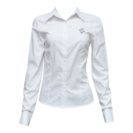Camisa Social Feminina Branca Com Bordado Cavalo