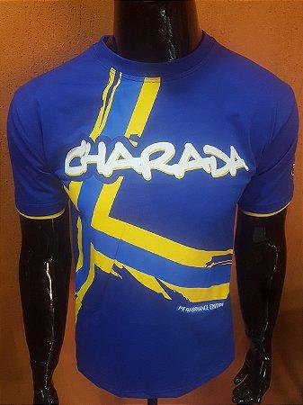 Camiseta CHARADA Azul Performance Edition VOLVO Interrogação nas Costas