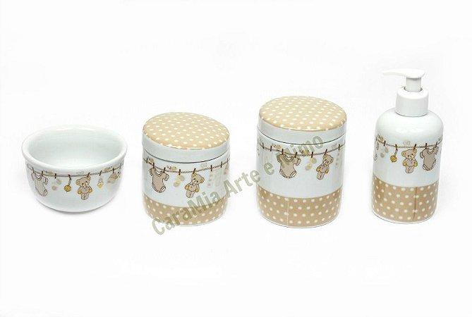 Kit Higiene Bebê Porcelana| Varalzinho Bege com Ursinhos| 4 peças