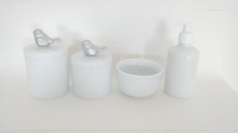 Kit Higiene Bebê Porcelana| Pássaro Prateado| 4 peças