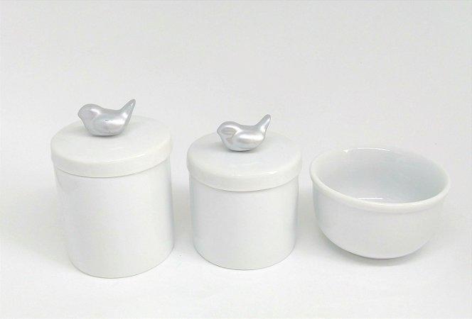 LIQUIDAÇÃO Kit Higiene bebê Porcelana| Pássaros Prateados| 3 peças