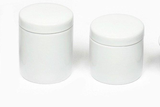 Kit Higiene Porcelana com 2 potes para Algodão e Cotonetes