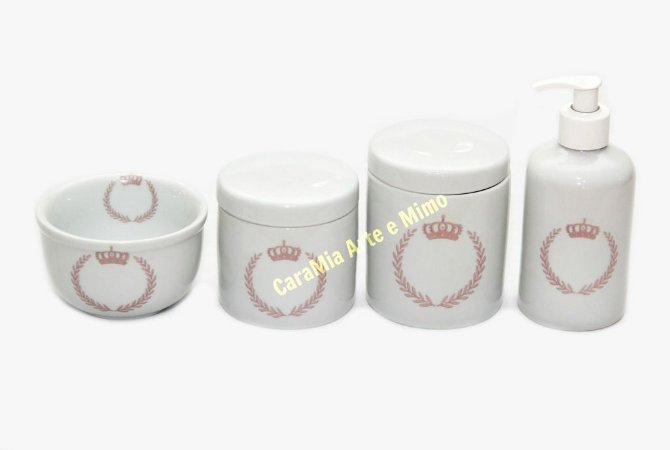 Kit Higiene Bebê Porcelana |Coroa Rosa Brasão| 4 peças