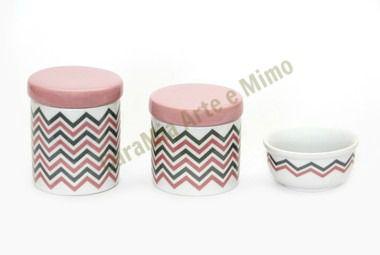 Kit Higiene Bebê Porcelana Chevron Rosa e Cinza