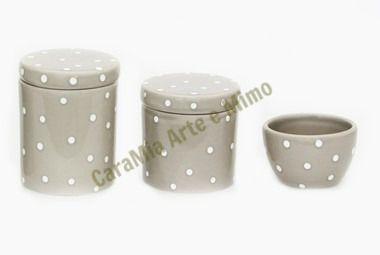 Kit Higiene Bebê Cerâmica| Cinza com poá Branco| 3 peças
