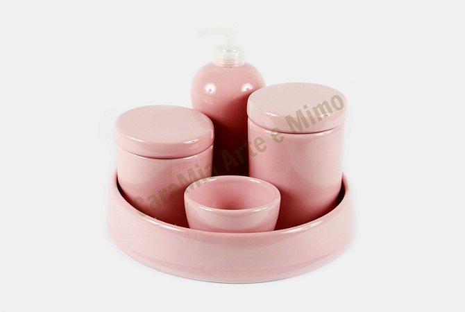 Kit Higiene Bebê Cerâmica|Rosa Bebê Liso com Bandeja| 5 peças