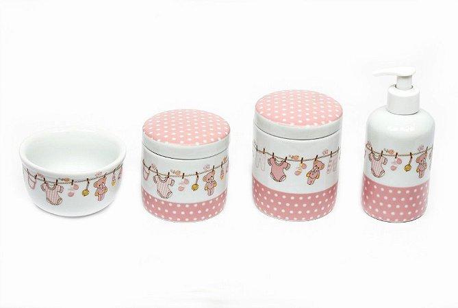 Kit Higiene Bebê Porcelana| Varal Rosa com ursinhos e Poá| 4 peças