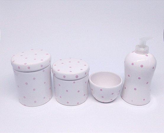 Kit Higiene Bebê Cerâmica| Branco com poá rosa | 4 peças
