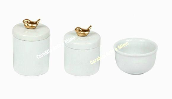 Kit Higiene bebê em Porcelana | Pássaro Dourado| 3 peças
