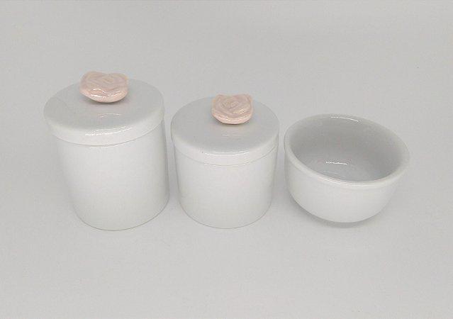 Kit Higiene Bebê em Porcelana| Florzinha Rosa Antigo| 3 peças