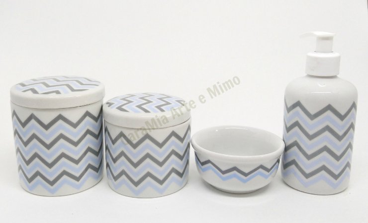 Kit Higiene Bebê Porcelana | Chevron Azul e Cinza | 4 Peças