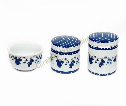 Kit Higiene Bebê Porcelana| Ursinho no Varal Marinho | 3 peças