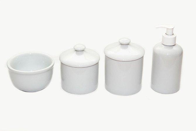 Kit Higiene Bebê Porcelana| Branco com puxador| 4 peças