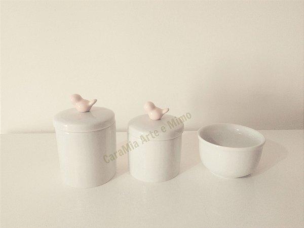 Kit Higiene Bebê Porcelana| Mini pássaro rosa antigo| 3 peças