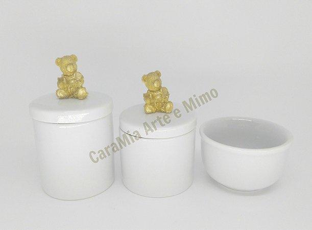 Kit Higiene Bebê Porcelana | Urso Dourado Médio| 3 peças