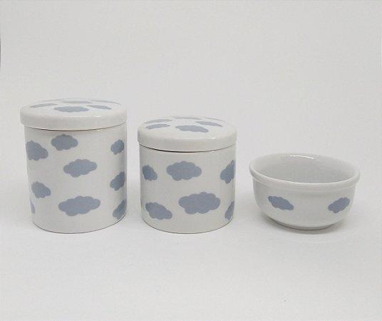 Kit Higiene Bebê Porcelana | Nuvem Cinza | 3 peças