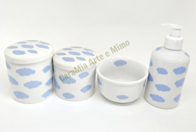 Kit Higiene Bebê Porcelana |Nuvem Azul| 4 peças