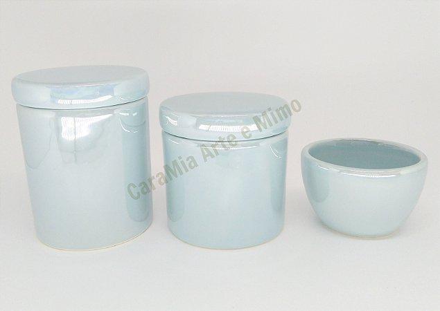 Kit Higiene Bebê Cerâmica Azul Antigo Perolizado