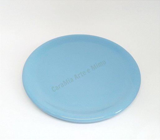 Bandeja Cerâmica Azul Bebê 30 cm para Kit e para garrafa