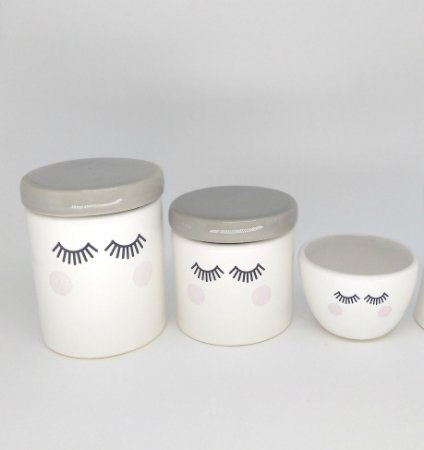 Kit Higiene Bebê Cerâmica   Olhinhos  Tampas Cinzas