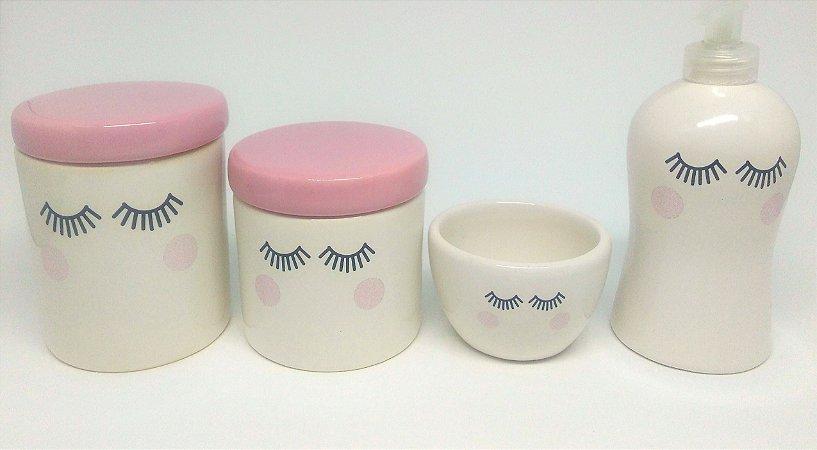 Kit Higiene bebê Cerâmica | Olhinhos |Rosa Bebê | 4 peças