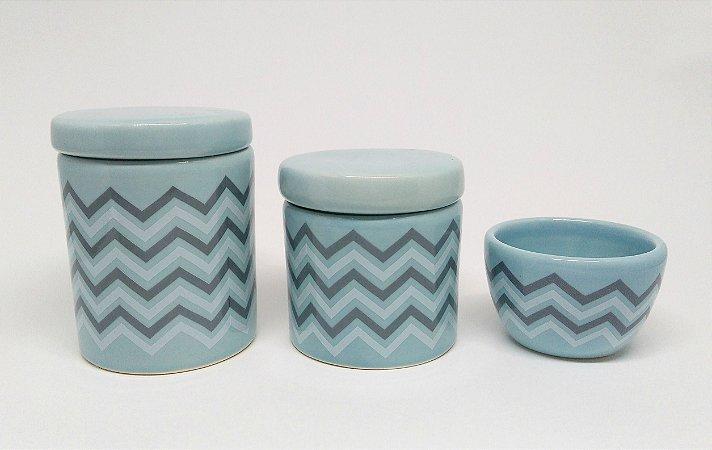 Kit Higiene Bebê Cerâmica   Chevron Azul Antigo e Cinza