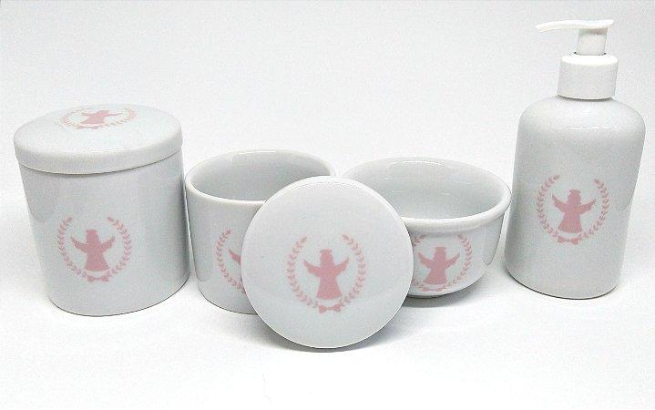 Kit Higiene Bebê Porcelana | Anjos| Diversas cores | 4 peças