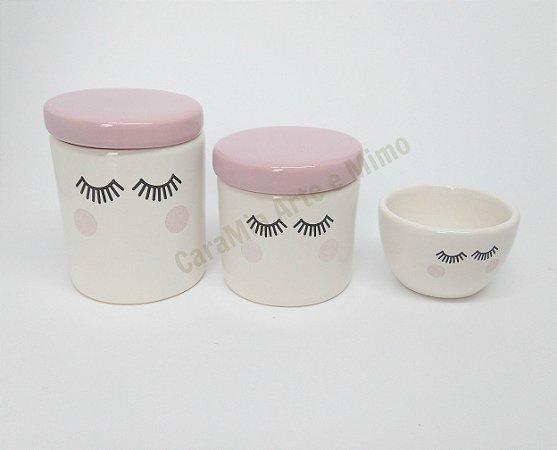 Kit Higiene Bebê Cerâmica | Olhinhos| Cílios| Rosa Bebê