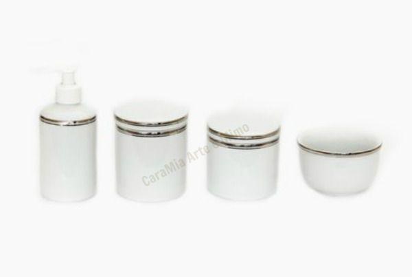 Kit Higiene Bebê Porcelana | Filete Prata| 4 peças