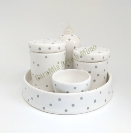 Kit Higiene Bebê Cerâmica |Poá Cinza com Bandeja| 5 Peças