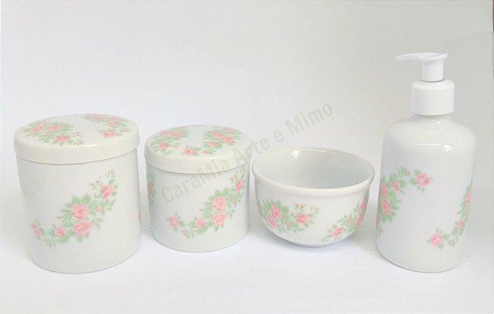 Kit Higiene Bebê Porcelana   Floral Rosa 4 peças