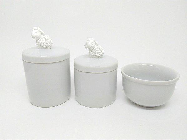 Kit Higiene Bebê Porcelana | Ovelha/Carneirinho Branco em Resina| 3 peças