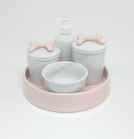Kit Higiene Bebê Porcelana| Laços Rosa Antigo e Bandeja Rosa Antigo| 5 peças