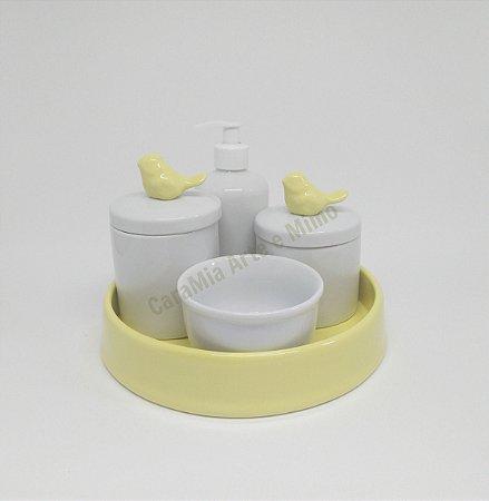 Kit Higiene Bebê Porcelana| Pássaro Amarelo com Bandeja Amarela