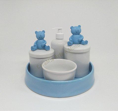 Kit Higiene Bebê Porcelana   Urso Grande Azul + Bandeja  Azul  5 peças