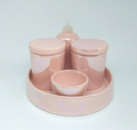Kit Higiene Bebê Cerâmica| Rosa Perolizado| 5 peças
