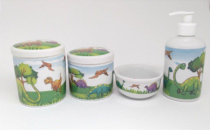 LIQUIDAÇÃO Kit Higiene Bebê Porcelana| Dinossauros| 4 peças