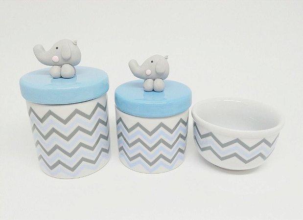 Kit Higiene Bebê Porcelana| Chevron Azul |Elefantinho Biscuit