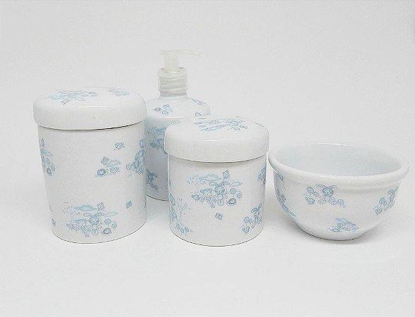Promoção  Kit Higiene Bebê Porcelana   Coelhos e Ursos Azuis  4 peças