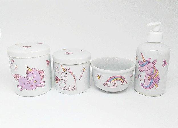 Kit Higiene Bebê Porcelana|Unicórnio Rosa / Arco-Íris| 4 Peças