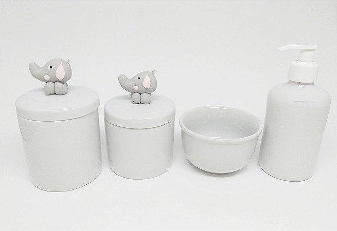 Kit Higiene Bebê Porcelana|Elefantinho com Orelhinha Rosa| 4 Peças